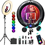 18 inch RGB Ring Light Kit, App Control Multi Colored Ring Light with Stand & Phone Ipad Holder/Remote/Bi-Color 2500K–8500K/CRI 95+/360°Color Changing/17 Lighting Effects for Selfie Makeup YouTube