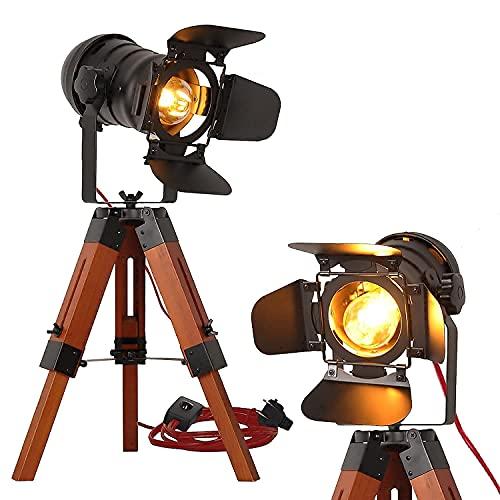 Industrial Vintage Wood Tripod Floor Lamp - Modern Nautical Cinema NightStand Table Searchlight Adjustable Height - Rustic Reading Desk Light Decor for Living Room Bedroom Office (Black,Plug in Cord)