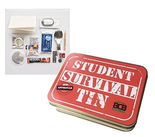 Bushcraft Unisex Survival-Set für Studenten in bronzefarbener Dose mit den Maßen 12 x 8,5 x 3,5 cm
