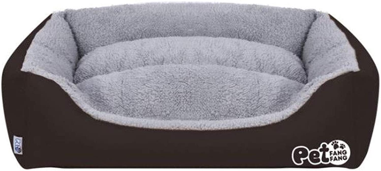 Pet Bed Pet Supplies Nest Cat Square Candy color Kennel (color   BROWN, Size   S(48  40  15cm))