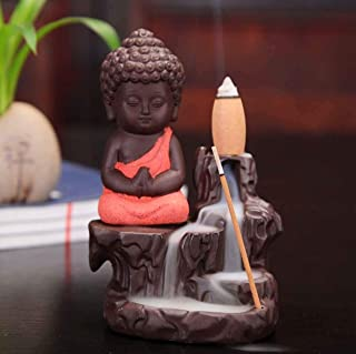 CraftJunction Meditating Monk Buddha Smoke Backflow Cone Incense Decorative Showpiece with 10 Smoke Backflow Cone Incenses...