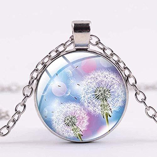 Yiffshunl Collares Hermoso Collar de Diente de león Deseo para un Amigo Lucky Dandelion Art Picture Glass Dome Colgante Collar Artesanía