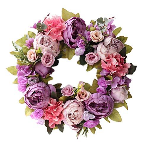 Meideli Garlands for Christmas Decor, 40cm Flower Christmas Threshold Garland Wedding Party Home Door Hanging Decor - Purple
