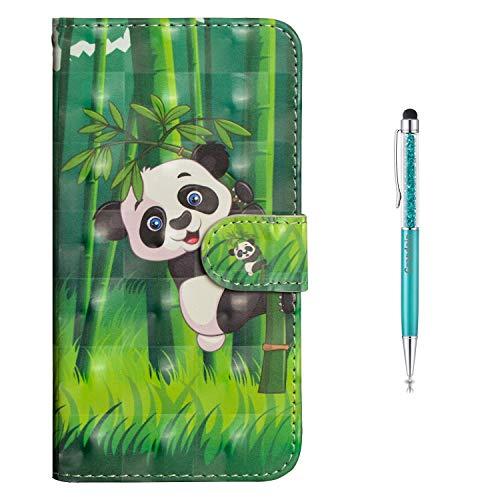 Preisvergleich Produktbild Grandoin Huawei Honor 9N Hülle, Honor 9i Hülle,  Handyhülle für Huawei Honor 9N / Honor 9i Handytasche PU Leder Flip Cover Bunte Muster mit Etui Case (Panda)