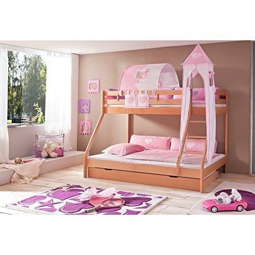 Relita Etagenbett Mike inkl. Bettschubladen und 3 TLG. Textils.rosa/weiß,Buche massiv Natur lackiert
