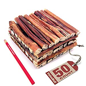ValueBull Bully Sticks for Dogs, Thick 6 Inch, 50 Count – All Natural Dog Treats, 100% Beef Pizzles, Single Ingredient Rawhide Alternative