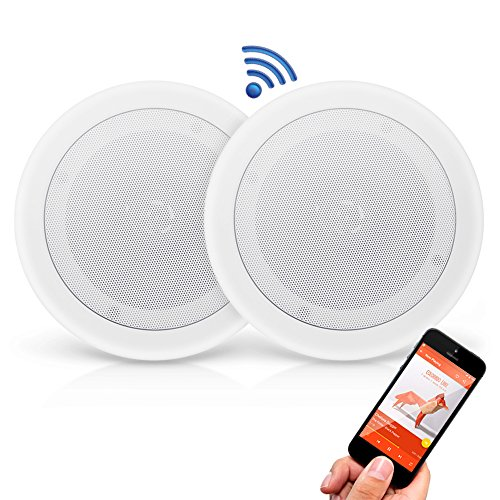 "Pyle Pair 8"" Bluetooth Flush Mount in-Wall in-Ceiling 2-Way Universal Home Speaker System Spring Loaded Quick Connections Polypropylene Cone Polymer Tweeter Stereo Sound 250 Watts (PDICBT852RD)"