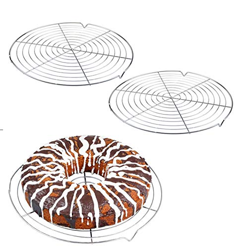 Nuluxi Pastel Antiadherente Rejilla de Enfriamiento Parrilla Enfriamiento Parrilla de Alambre Accesorios para Hornear Pastel Grid para bizcochos Pastel Pan Asado Cocinar Asar Parrilla Secado-2 Piezas