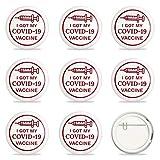 GLOBLELAND 9 Piezas COVID-19 Pines de botón de Vacuna Pinback Insignias de botón vacunado para Virus vacunado contra Covid 19 Pines