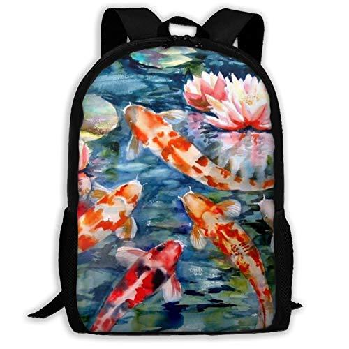 Japanese Koi Fish Printed Travel Backpack,Waterproof Lightweight Laptopbag Have Two Side Pockets