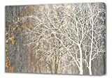 Yihui Arts White Birch Trees Painting 3D Canvas Art On Canvas Abstract Artwork Art Wood Inside Framed Hanging Wall Decoration Abstract Painting One Panel for Home Modern Decor (Brown, 36Wx48L)