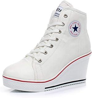 c397e228 Zapatos con Plataforma De Tacones Altos De CuñA para Mujer Primavera OtoñO  con Cordones ImpresióN De