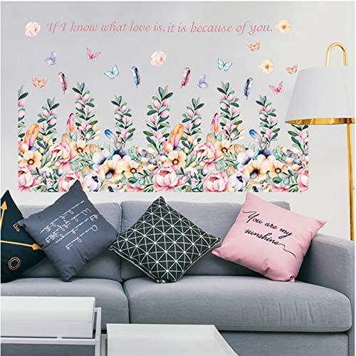 Pegatinas de pared 92 * 53 Cm Etiqueta De La Pared De Flores Románticas, Decoración Colorida Del Enchufe De La Planta, Hermosa Decoración De La Mariposa Para El Hogar, Para El Baño