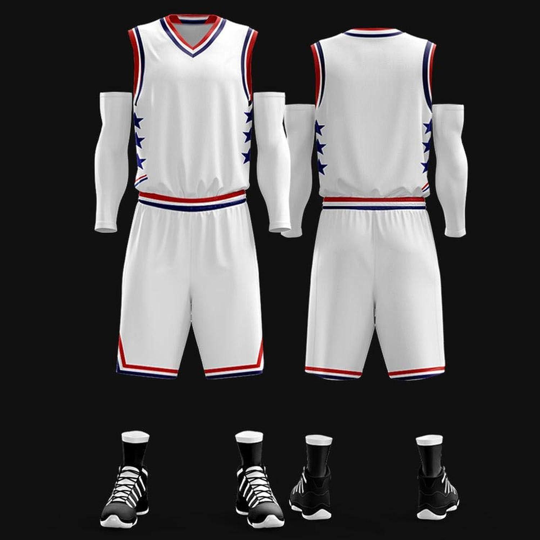 CXPDC SumPo Herren Basketball Trikots 2019 All-Star Weste Basketball Uniform Anzug Student Jersey Sport Weste Stoff Stickerei Weiß-XXL