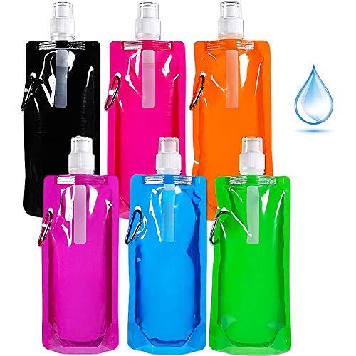 Bolsa Botella Agua Plegable Deportiva, BKJJ 6 Pièces Bolsa Agua Reutilizable, Plegable Flexible Botella para Senderismo, Ciclismo, Camping, Viajes, Escuela - 6 couleurs