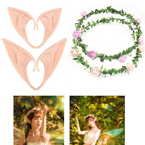UCLEVER Latex Elf Ear with Flower Crown Headband Pixie Dress Up Costume Soft Pointed Goblin Ears Cosplay Halloween Party Props Elven Vampire Fairy Ears, 2 Pairs