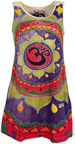 Guru-Shop Mirror Top, Longshirt, Minikleid, Damen, Mandala Om/Beige, Baumwolle, Size:M (38), Bedrucktes Shirt Alternative Bekleidung