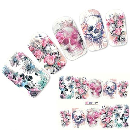 JUSTFOX - Nagel Sticker Tattoo Nail Art Totenkopf Rosen