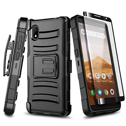 E-Began Case for Alcatel Apprise/Glimpse, Alcatel 1B (2020 Release) with Tempered Glass Screen Protector, Belt Clip Holster Kickstand Shockproof Protective Heavy Duty Armor Phone Case -Black