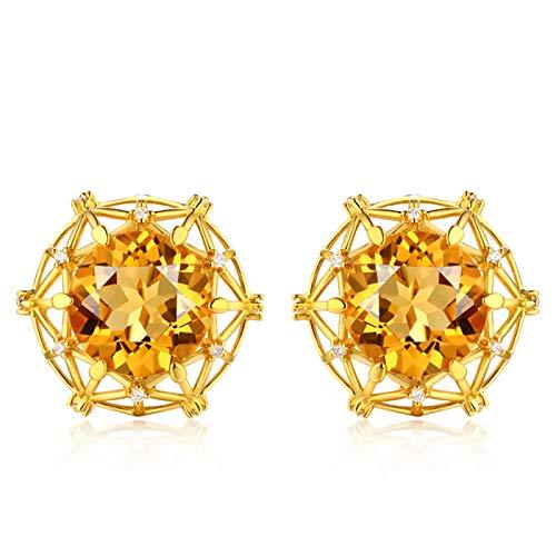 ANAZOZ 18K Oro Amarillo Pendientes Mujer Amarillo Naranja Pendientes Redondo Citrino Amarillo Naranja Blanco 6.6ct