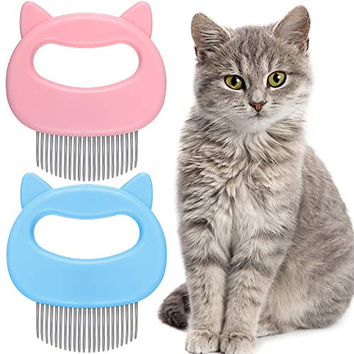 2 Pieces Cat Comb Pet Massage Comb Cat Shell Comb Cat Grooming and Painless Deshedding Matted Tangled Hair for Cats and Dogs (Blue, Pink)
