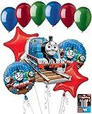 Jeckaroonie Balloons 11 pc Thomas The Train Happy Birthday Balloon Bouquet Party Decoration Boy Girl
