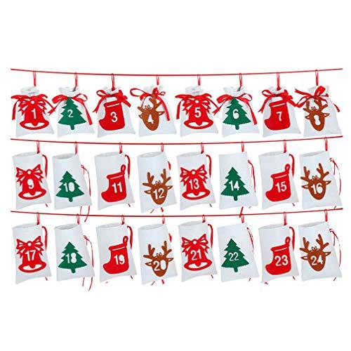 GARNECK 24 Piezas Bolsas Colgantes Calendario Corona de Navidad Calendario de adviento Duradero Paquetes de Regalo Bolsas de Regalo para Fiesta de Navidad año Nuevo