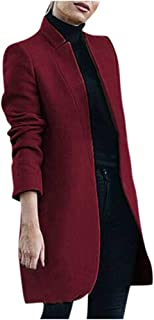 Women Wool Coat Blazers for Work SFE Winter Slim Fit Stand-Up Collar Cardigan Office Casual Trench Jacket