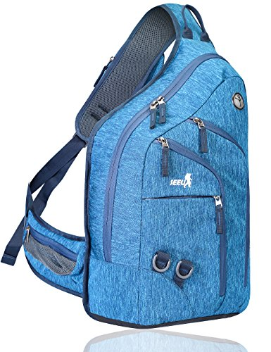 Plus Oversized Sling Bag Men Women, Double Layers Travel Backpack Cross Body Bag 28L, Fit for 14 Inch Laptop