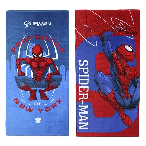 Cerdá Toalla Algodón Spiderman, Rojo, 70x140c