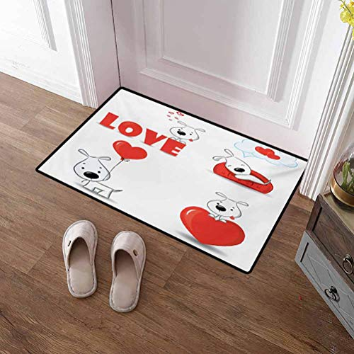 Welcome Mats Love Kitchen Floor Absorbent Bath Mat Funny Dogs with Heart Symbols My Pet Best Friends Companions Ever House Animal Theme for Bathroom/Kitchen and Living Room Red White 36x60 Inch
