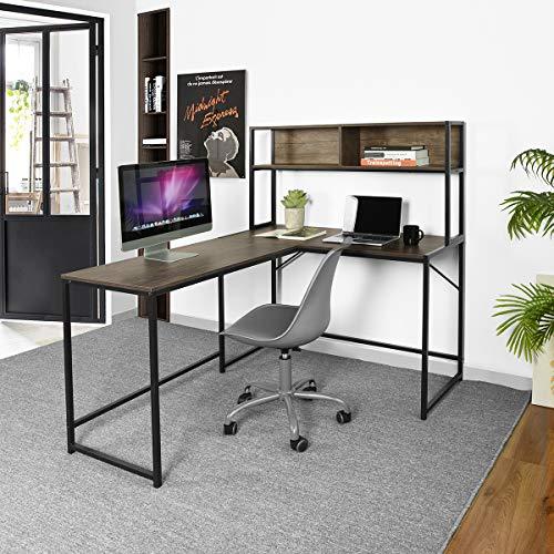 L-förmiger Schreibtisch mit 2 Etagen, Bücherregal, modern, kompakt, Heimbüro, Computer-Arbeitsplatz, Walnuss