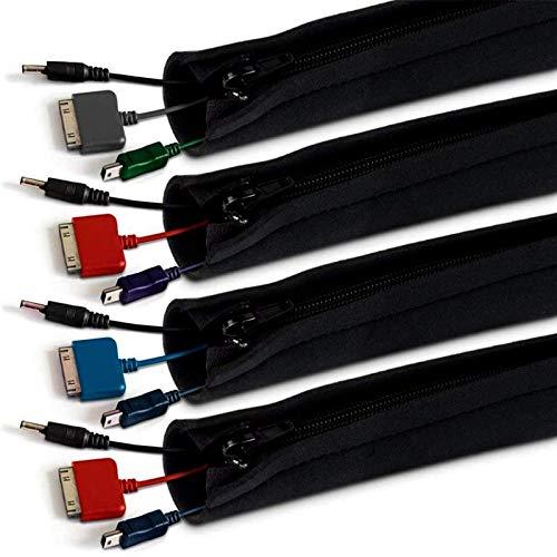 Organizador de cables RabbitStorm Juego de Cables Hebilla con Cremallera Juego de Almacenamiento de Gestión de Línea de Computadora 4...