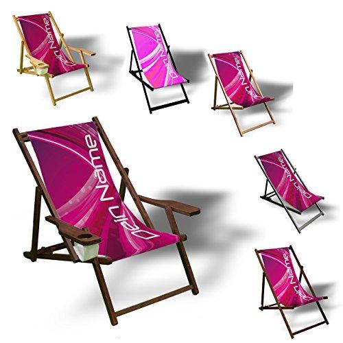 Printalio - Wunschtext - Purple Abstract - Liegestuhl Bedruckt Balkon Garten Sonnenliege Relax Holz Terrasse | mit Armlehne, Natur