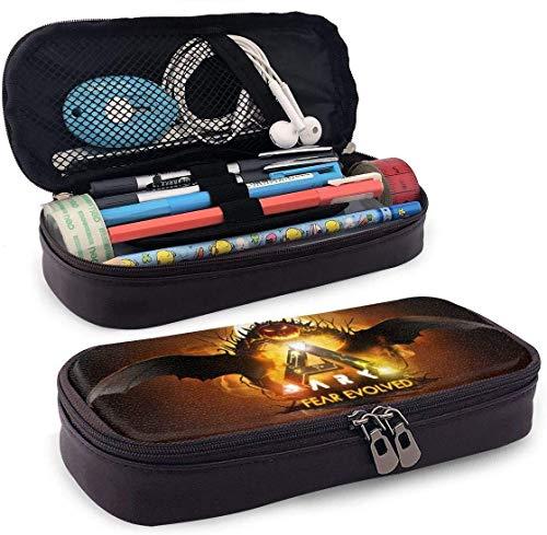 Ark Survival Evolved Leather Pencil Case Bleistifttasche mit großer Kapazität Make-up-Stifttasche Langlebiges Studentenpapier mit doppeltem Reißverschlussstifthalter für Schule/Büro