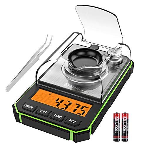 Brifit Digitale Milligramm-Waage, Tragbare Mini-Waage, 0,001 g genaue Graduierung, professionelle Taschenwaage mit 50 g Kalibriergewichten, Pinzette (Batterien im Lieferumfang enthalten) grün