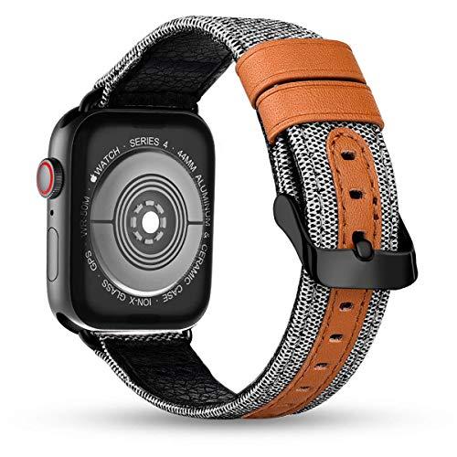 iBazal horlogeband vervanging voor iWatch Series 5 4 3 2 1 armband 40mm 38mm stof linnen textiel geweven/leer vervangende horlogeband band armbanden herenhorloge dames horlogebanden - wit 38/40
