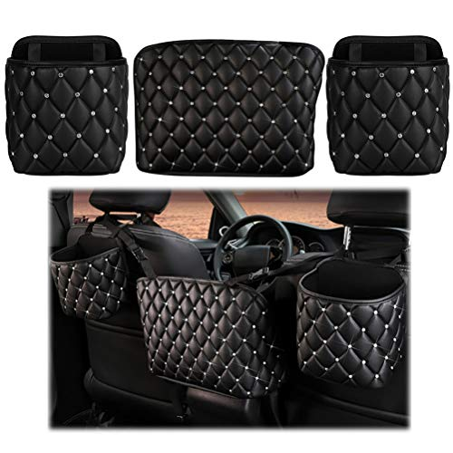 atimier Car Organizer PU Leather Car Storage Net Bag Auto Seat Back Organizer Universal Handbag Holder for Girls Women Travel Pocket Bag(3 Pieces)