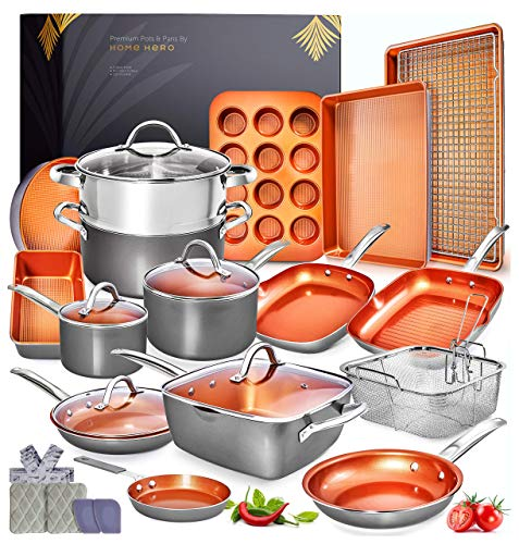 Home Hero Copper Pots and Pans Set -23pc Copper Cookware Set Copper Pan Set Ceramic Cookware Set...