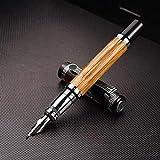 Onior Patrón Classic Pen Confucio de bambú Natural de Metal en Relieve doblado plumilla de la caligrafía Pluma iridio de 1,2 mm for Office/Regalo de la Pluma (Color: Caligrafía Pluma, Tamaño: Libre)