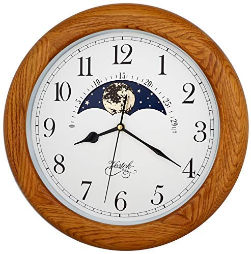 Justime 14 Inch Exclusive Solid Oak Wood Non-Ticking Sweep Mechanical Specialty Moon Phase Moving Dial Wall Clock, Gift, Home Décor (TCWS712-MD-OAK)