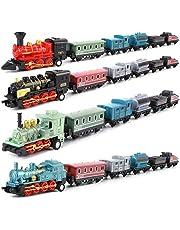 4 Piezas de Trenes Modelo de Juguete Locomotora de aleación clásica Tren de Vapor Conjunto de Modelos de tracción Trasera simulación Modelo de Coche Retro Regalo para niños y niñas(Azul)