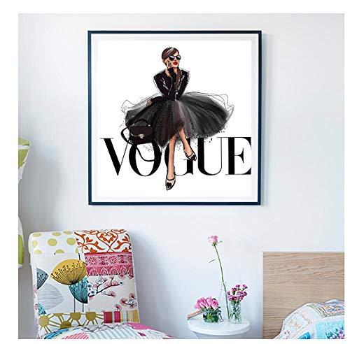 Jwqing Quadro Fashion Figure Poster e Stampe Vogue Wall Art Pittura su Tela Picture Home Decor Senza Cornice (50x50 cm Senza Cornice)