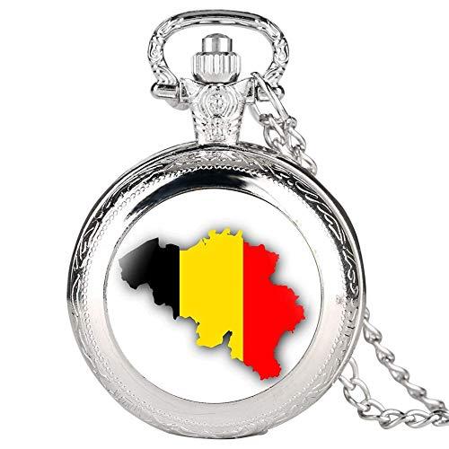 N / A Plata de Cuarzo de Bolsillo para los Hombres, Relojes de diseño Creativo Bélgica Mapa de Bolsillo para Las Mujeres, Reloj de Bolsillo de la aleación de la Cadena sostenible para los h.