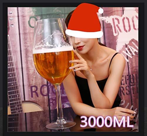 MOLLYNANA Copa de Vino Gigante ? 3000 ml Copa de Vino Tinto súper Grande, Vidrio 100% sin Plomo, Adecuado para Fiestas, Bodas, Navidad ? Adecuado para Fiestas, Bodas, Navidad