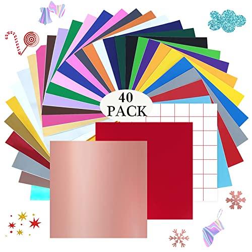 """YIDOMDE Láminas de Vinilo Adhesivo Permanente, 36 Colores PVC Hojas de Vinilo 12"""" x 12"""" + 4 Hojas de Transferencia para coche, Decoración de Fiesta, Pegatina, Cerámica, Vidrio, Taza"""