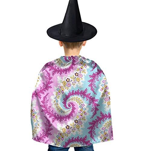 Amoyuan Unisex Kids Kerst Halloween Heks Mantel Met Hoed Paisley Kleurrijke Bloemen Boer Wizard Cape Fancy Jurk