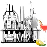 Viesap Coctelera, 17Pcs Coctelera Profesional Con 400ml Coctelera De Vidrio Coctelera Para Cócteles Barman Cocteleria Juego De Herramientas Barra De Acero Inoxidable Para Bar Hogar Mezclar Bebidas.