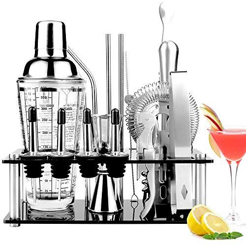 Viesap Shaker Cocktail Set, 17 Pezzi Kit da Barman in Acciaio Inox, Professionale Kit Barman Completo, Set di Strumenti Bar con 400ML Bicchiere Shaker Mensola in Cristallo Spazzola Pulita Filtro.