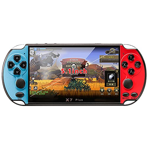 X7 Plus Built-in Free 10000 Games Handheld Double Rocker Hd Music Portable LCD Camera 8G Movies Game Console Video Kids MP5 Rechargeable Birthday Gifts Presents(Red&Blue)